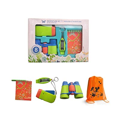 Kids Outdoor Exploration Toy Set, Binoculars Flashlight Multi-Function Compass Notebook Educational Toy with Drawstring Bag: Toys & Games