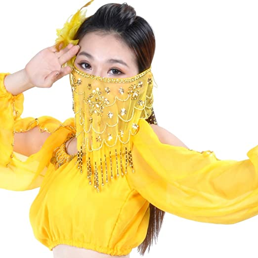 b77545b9bdbd27 Loveble Dames Accessoires de Danse du Ventre Femmes Voile de Visage de Danse  du Ventre Avec des Perles  Amazon.fr  Vêtements et accessoires