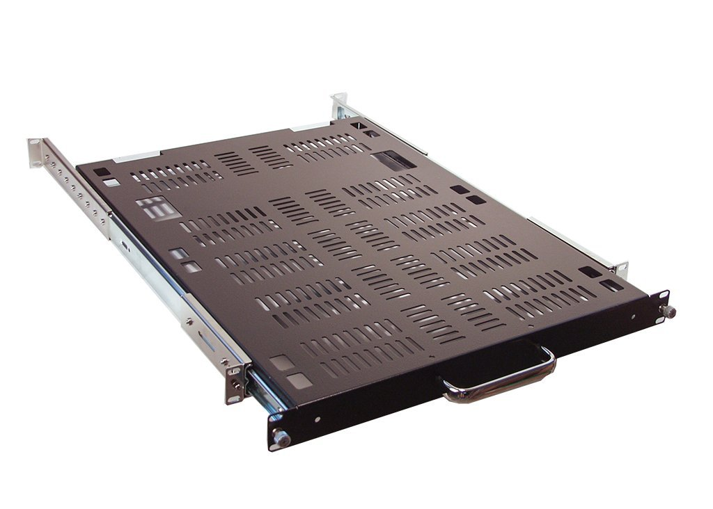 RSF1041LC 1U Rackmount 24 deep vented sliding shelf for Industrial 19 Server Rack with 24 to 30 adjustable rearmount bracket.