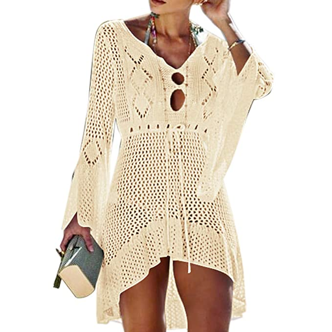 e3f3e3d546 VicoTop Women Crochet Swimsuit Cover Up Hollow Out Flare Sleeve Beach Dress  Swimwear Dress Beach Cover