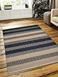 Rugsotic Carpets Hand Woven Kelim Woolen 8' x 10' Contemporary Area Rug Aqua Cream D00115 With Fringe