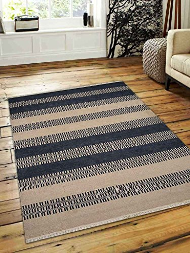 Rugsotic Carpets Hand Woven Kelim Woolen 8' x 10' Contemporary Area Rug Aqua Cream D00115 With Fringe by Rugsotic Carpets
