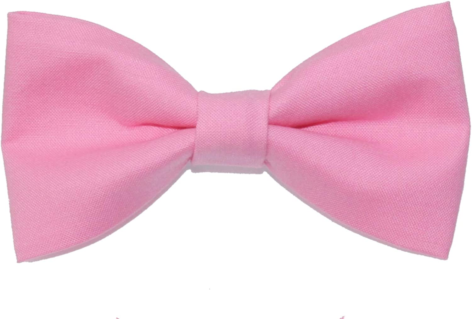 Mens Carnation Pink Clip On Cotton Bow Tie