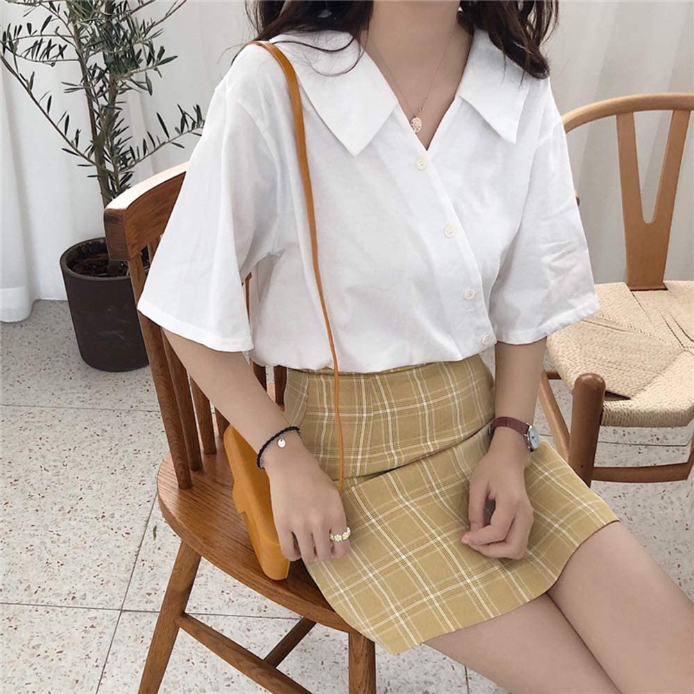 ZZAI Top Scollo Av Irregolare - Camicia Bianca A Maniche Corte per Studenti Sciolta,Yellow White