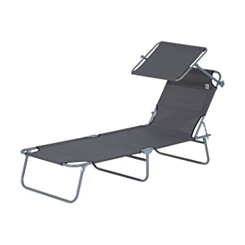 Outsunny Sun Bed Chairs Garden Lounger Recliner Reclining Folding Relaxer Beach  Chair Patio Camping Textilene