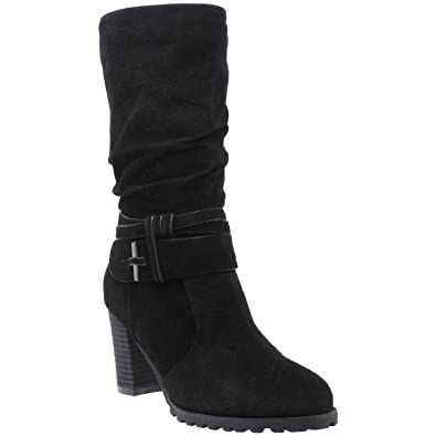 8f19f4a8254a Generation Y Womens Mid Calf Boots Faux Suede Ruched Strap Stacked Block Heel  Shoes Black SZ