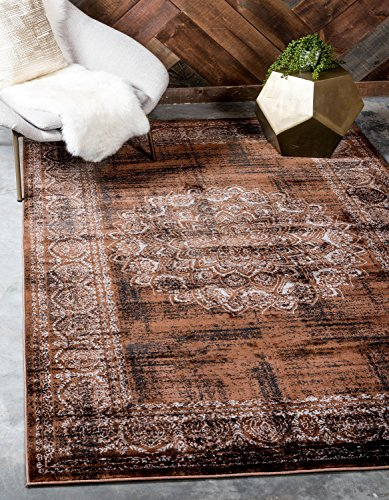 Unique Loom Imperial Collection Modern Traditional Vintage Distressed Chocolate Brown Area Rug (4' x ()