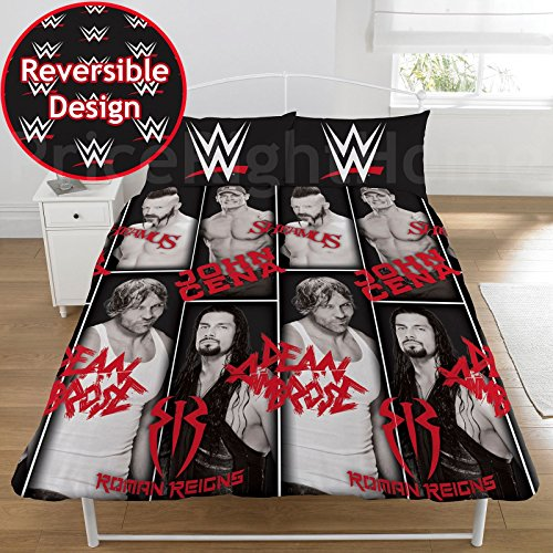 WWE Stars 2 Piece UK Double /US Full Sheet Set, 1 x Double Sided Sheet and 2 x Pillowcases by WWE Stars