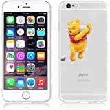 Disney winnie the pooh transparente in poliuretano termoplastico per iPhone-Cover per iPhone 5,5S,5C,6/6S,6+ ,iphone7 plastica,(iphone 7,Winnie With Apple)