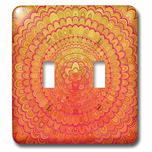 3dRose David Zydd - Floral Mandalas - Aztec Flower Mandala - abstract floral mandala design - Light Switch Covers - double toggle switch (lsp_284128_2)