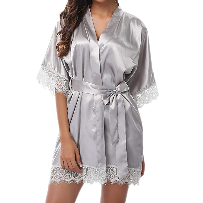 Amazon.com: Womens Lady Sexy Lace Sleepwear Satin Nightwear Lingerie Pajamas Suit Woman Robes Sleeping Dressing Gown batas de Mujer, Gray, M, ...