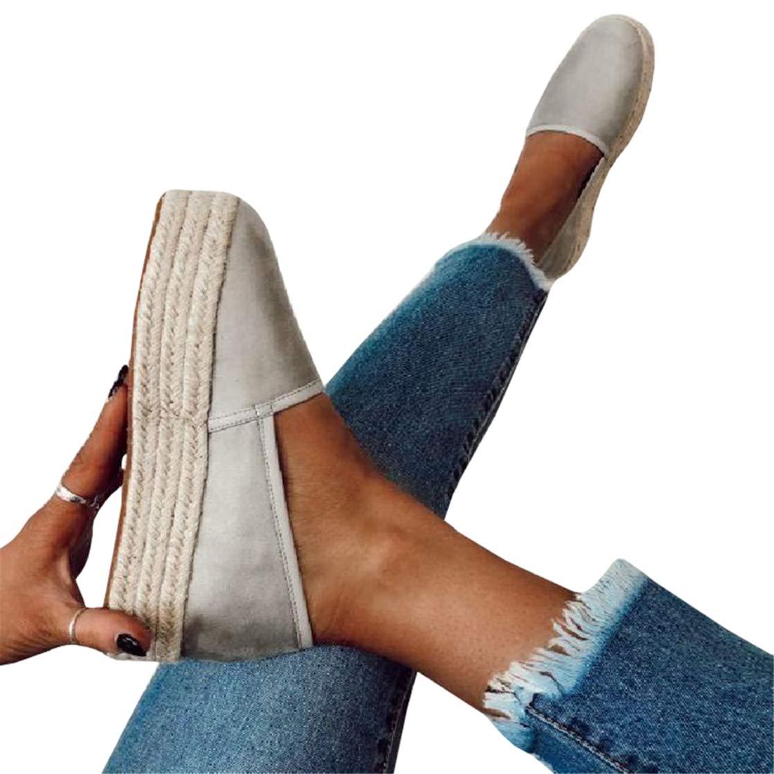 589aff40085e0 Womens Espadrille Flatform Loafers Slip on Platform Sneakers Low Top Flats  Shoes