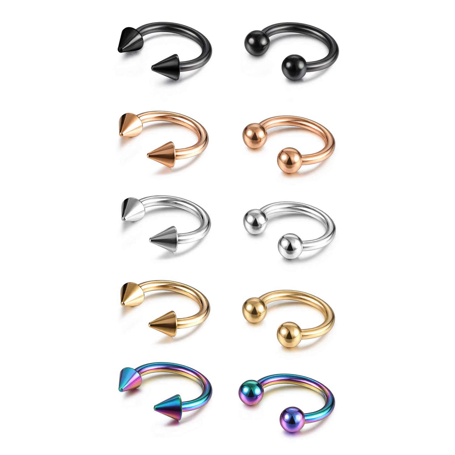 Evevil 16G Stainless Steel Septum Nose Ring Mixed 10 Pieces Septum Jewelry Set Horseshoe Hoop Earrings EV18JL050014-10P-F