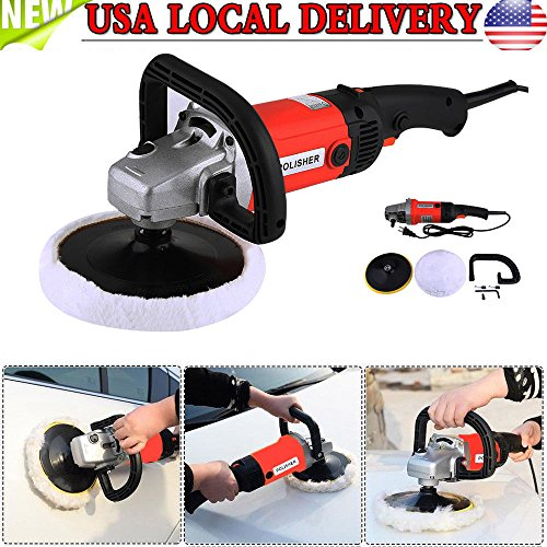 "All Goodly 7"" 6 Speed Electric Speed Car Polisher Buffer Waxer Sander Detail Boat+Bonnet Pad"