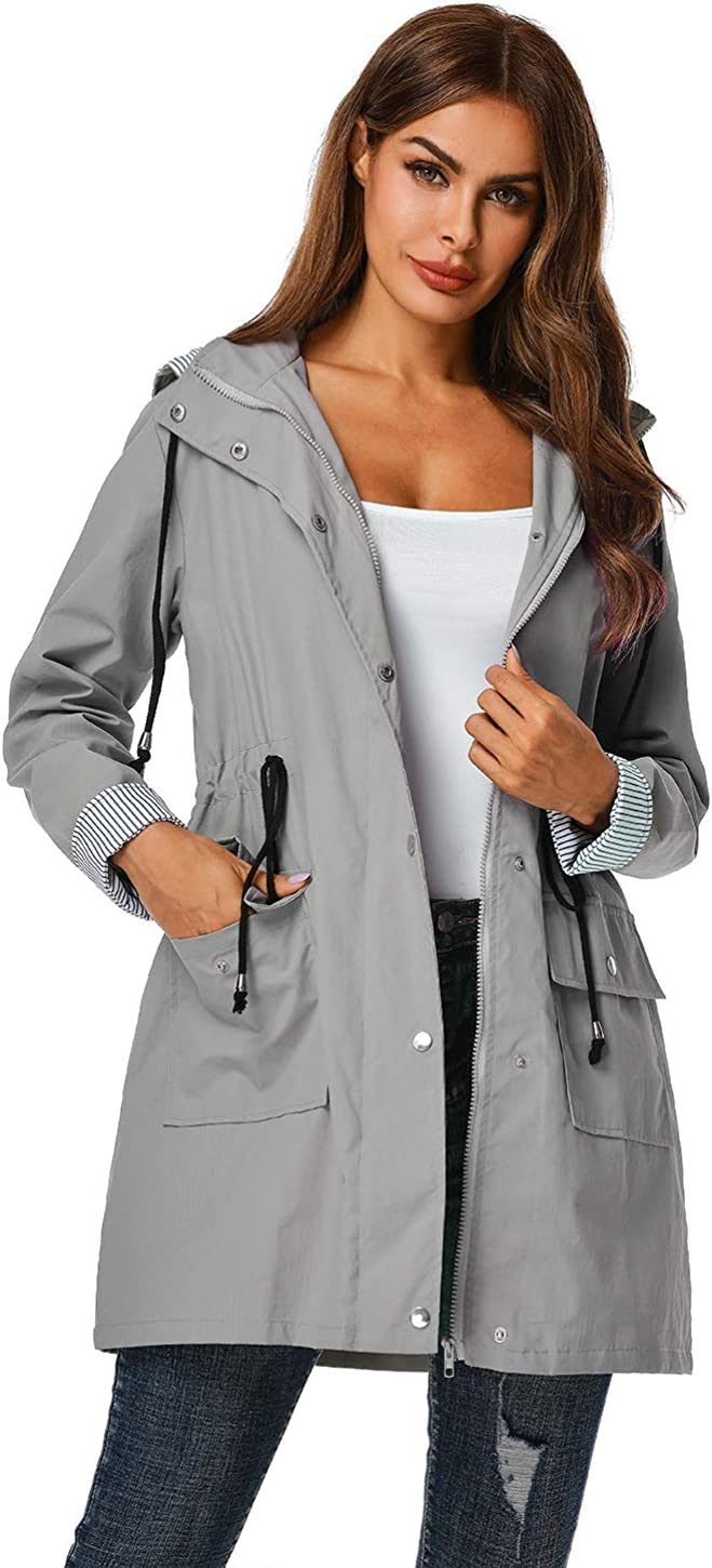 ZEGOLO Womens Raincoats Windbreaker Rain Jacket Waterproof Hooded Outdoor Trench Coats