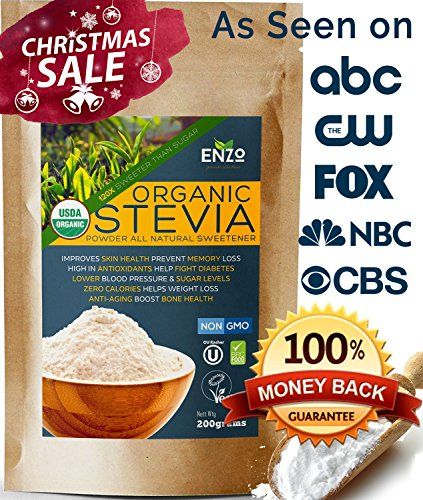 Price comparison product image Easy Use Organic Stevia Powder 200g (7.05oz / 1600 Servings) All Natural Alternative Sweetener 12 x Sweeter than Processed Sugar USDA Certified No Artificial additives & fillers ingredients