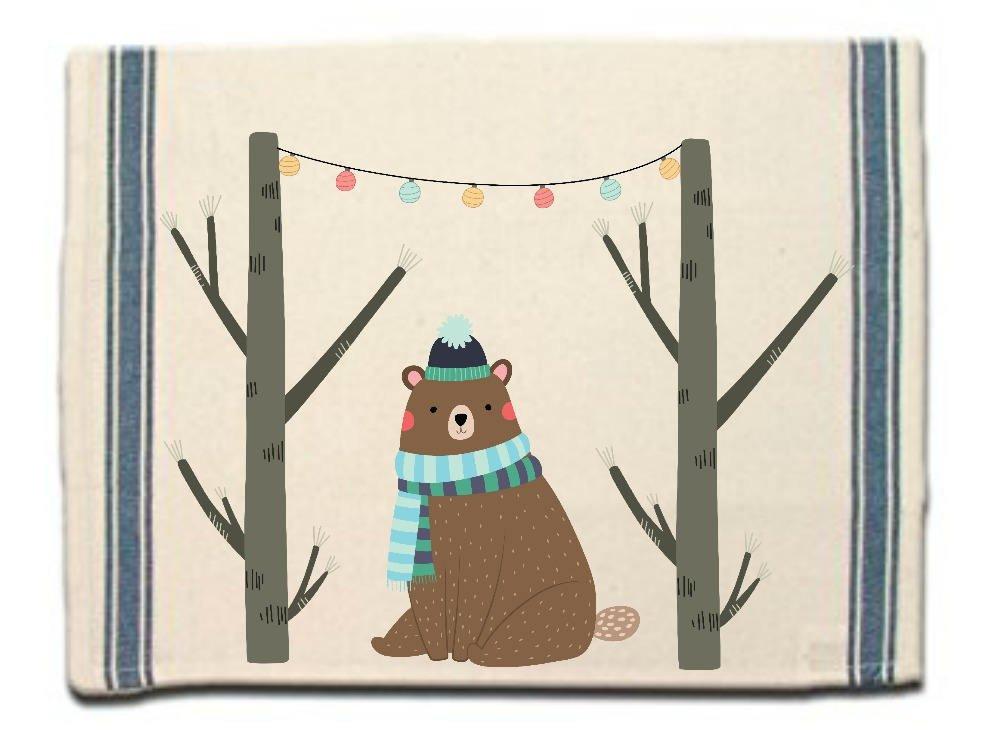 Winter Bear Kitchen Towel|Dish Towel| Tea Towel| Flour Sack Material| Woodland Animals Dish Towel| Flour Sack Kitchen Towel|Dish Cloth