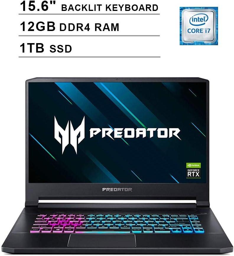2020 Acer Predator Triton 15.6 Inch FHD 1080P Gaming Laptop (Intel 6-Core i7-9750H up to 4.5GHz, NVIDIA GeForce RTX 2060 6GB, 12GB DDR4 RAM, 1TB SSD, Backlit KB, Windows 10)