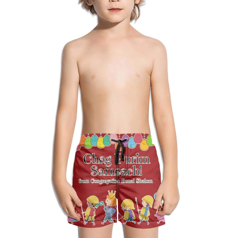 Happy Purim Carnival Balloon Kids Side Split Adjustable Active Swim Shorts