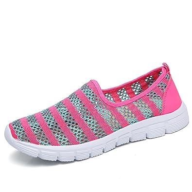 Zapatos para Corror Mujer Zapatillas de Deportiva Slip on Huecos Sneakers para Caminar Walking Calzado Malla Transpirables Loafer Ligeros Mocasines Verano ...