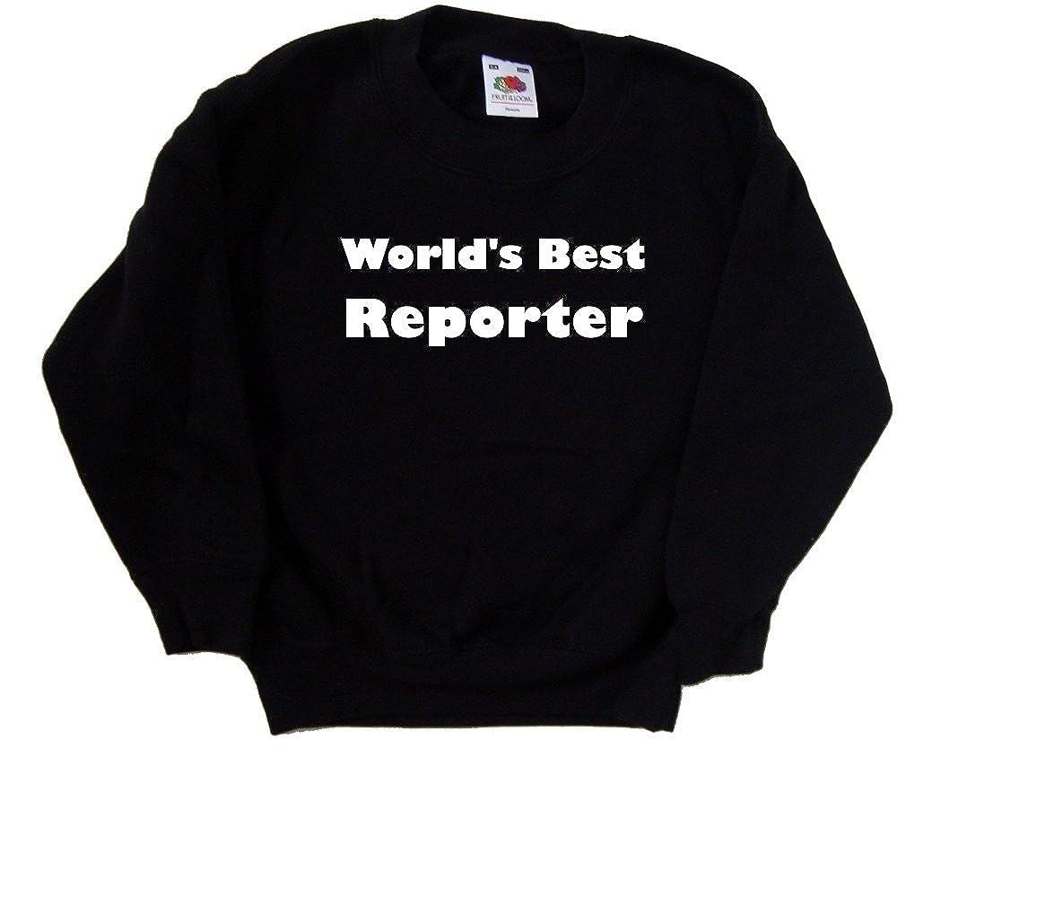 Worlds Best Reporter Black Kids Sweatshirt