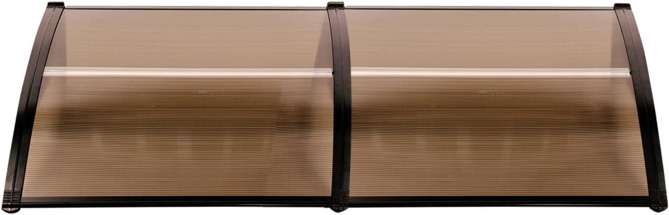 MCombo 116 inch / 78 inch / 39 inch Window Awning Outdoor Polycarbonate Hollow Sheet Door Patio Canopy (40''x80'', Dark Brown Canopy/Black Bracket)