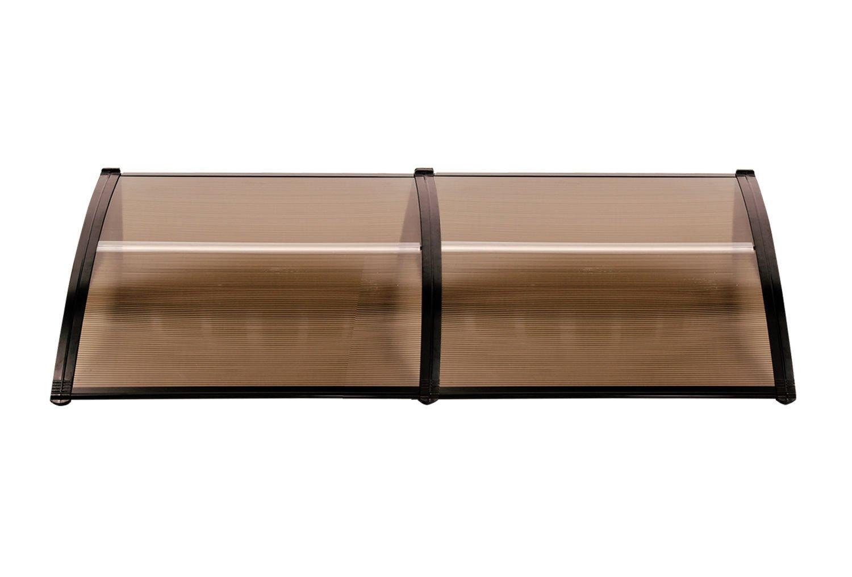 MCombo 40''×120''/40''x 80'' Window Overhead Door Awning Patio Outdoor Polycarbonate Cover Front Door Sun Shetter Garden Canopy Hollow Sheet (Dark Brown Canopy/Black Bracket(40''x80''))