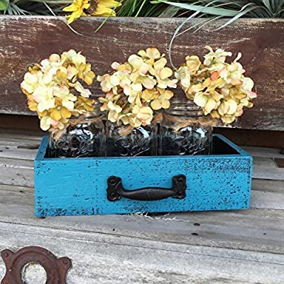 Wood DRAWER with 3 Mason Canning Pint Jars Centerpiece blue mustard yellow red rust burgundy white