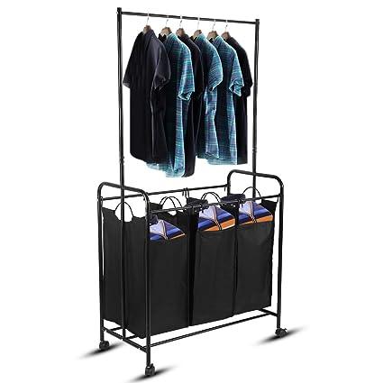 3/4 compartimentos mueble cesto para ropa con 4 ruedas de ...