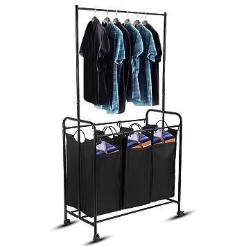 3/4 compartimentos mueble cesto para ropa con 4 ruedas de metal con perchero extraíble y 4 bolsas desmontables color café para Hotel, laverie, ...