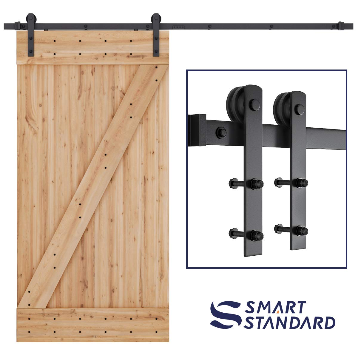 SMARTSTANDARD 8ft Heavy Duty Sturdy Sliding Barn Door Hardware Kit - Smoothly and Quietly-Simple and Easy to Install-Includes Step By Step Installation Instruction-Fit 42''-48''Wide Door Panel (I shape) by SMARTSTANDARD