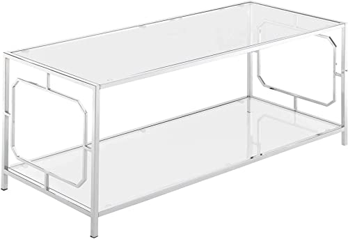 Convenience Concepts Omega Coffee Table, Chrome Frame
