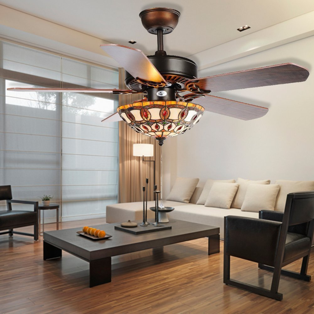 RainierLight Vintage Ceiling Fan Lamp 5 Reversible Blades Tiffany Lampshade LED Light for Indoor/Bedroom/Living Room (48inch)