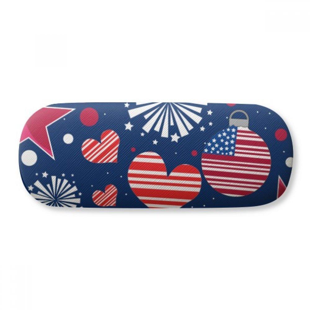 USA Flag Love Heart Star Festival Glasses Case Eyeglasses Clam Shell Holder Storage Box