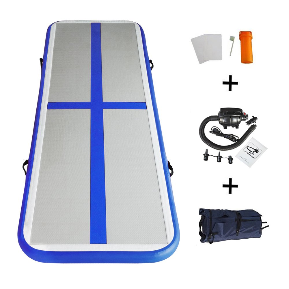 tumbling track with blue gymnastics pump kp mats home cheer use mat goplus floor for inflatable air c