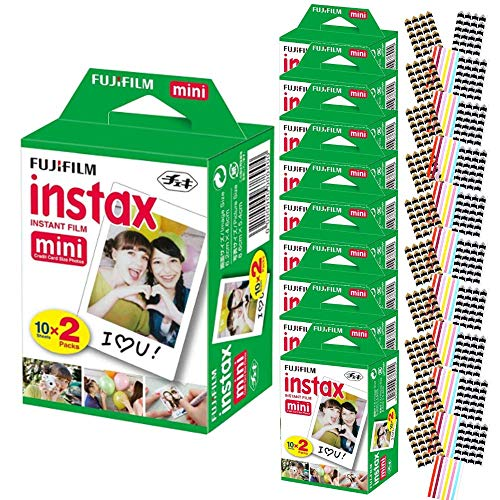 FujiFilm Instax Mini Instant Camera Film: White (10 Packs: 200 Film Sheets) + Bundle with 30 Sheets of Self-Adhesive Photo Corners | Compatible with Mini 9, Mini 8, Mini 25, Mini 90, Fuji SP-1, SP-2