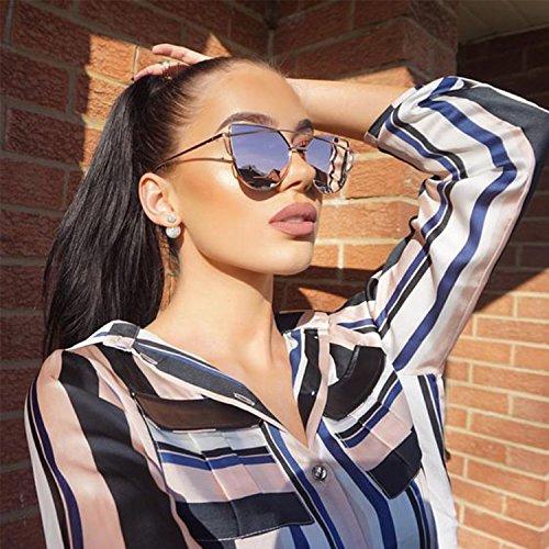 Large Oversized Cat Eye Sunglasses Metal Frame Flat Mirror Lens Women Fashion Silver - Gff Sunglasses