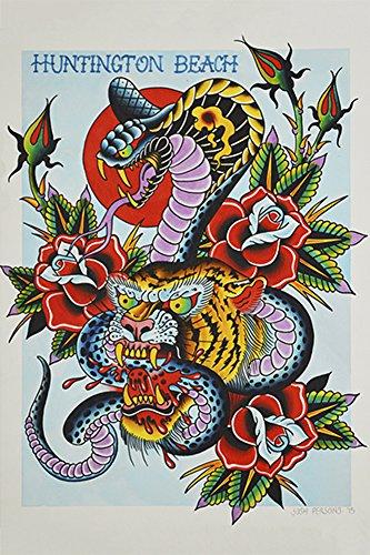 Art Tigers Tattoo - Cobra & Tiger by Josh Persons Colorful Traditional Tattoo Framed Fine Art Print