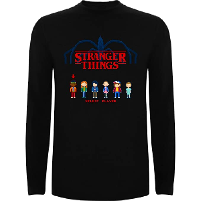 Camiseta Manga Larga de Hombre Stranger Things Serie Retro TV 80: Amazon.es: Ropa y accesorios