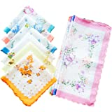 Womens/Girls Vintage Floral Cotton Handkerchiefs with Scalloped Edge Bulk Pack Hankies
