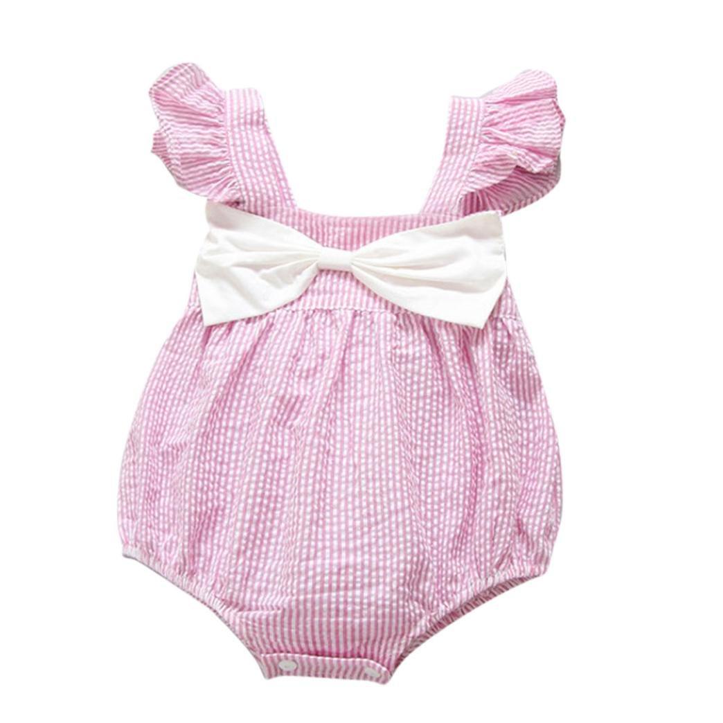 Vestidos Bebé,Switchali Niñito Infantil Recién nacido Bebé Niña Verano Cabestro rayas Mono algodón Floral