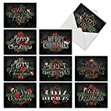 Christmas Chalk and Roses' Holiday Notes, Boxed Set of 10 Fancy Script with Flowers and Pinecones Christmas Cards 4 x 5.12 inch, Poinsettias, Ornaments and Fir with Pretty Text Cards M2358XSG