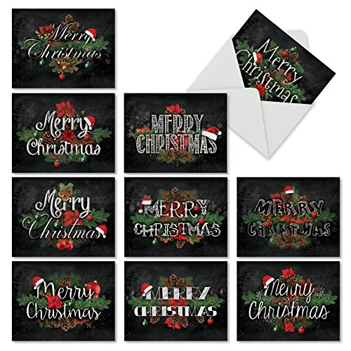 M2358XSG Christmas Chalk And Roses: 10 Assorted Christmas Note Cards Featuring Merry Christmas Sentiments in a Chalk Typeface with Holiday Florals, w/White Envelopes.