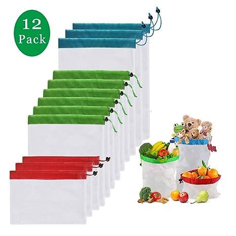 Bolsas Compra Reutilizables Bolsa de Malla para Almacenamiento Fruta Verduras Juguetes Lavable y Transpirable 3 Diversos Tamaños(12 Piezas)