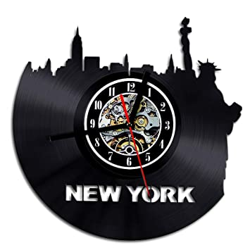 Mrzy Reloj de Pared de Vinilo New York Skyline LP Reloj de Tiempo récord NY City
