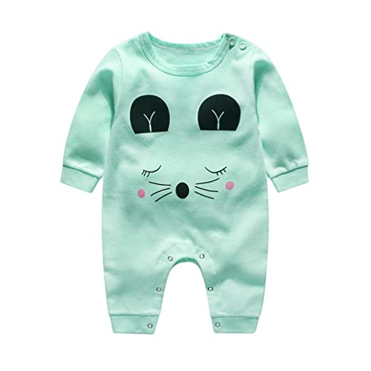 9685df73e46 Hatoys Cute Infant Baby Boy Girl Cartoon Long Sleeve Climbing Clothes  Jumpsuit Romper (0-