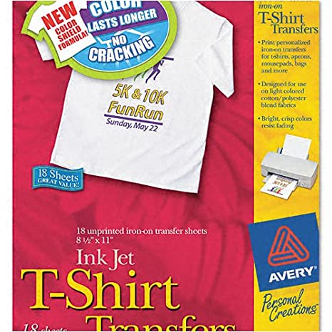 photograph about Printable Iron on Sheets called Avery : Specific Creations Inkjet Gentle T-Blouse Iron-Upon Transfers, White, 18 Sheets/Pack -:- Bought as 2 Packs of - 18 - / - Volume of 36 Each individual