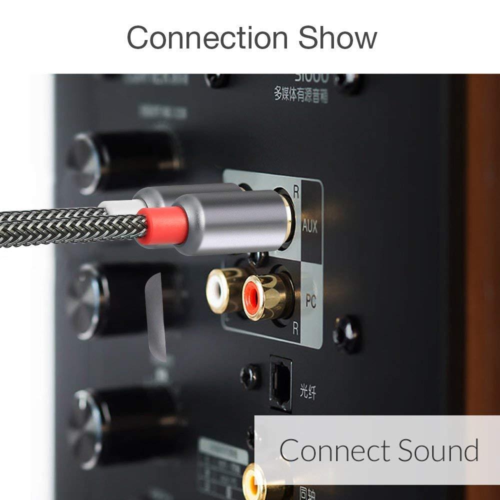 Home Cinema POSUGEAR Nylon Trenzado Cable RCA Cinch 2 Conector RCA Macho a 2 Conectores RCA Macho para Subwoofer Amplificado Lector de CD -2M Cable de Audio RCA