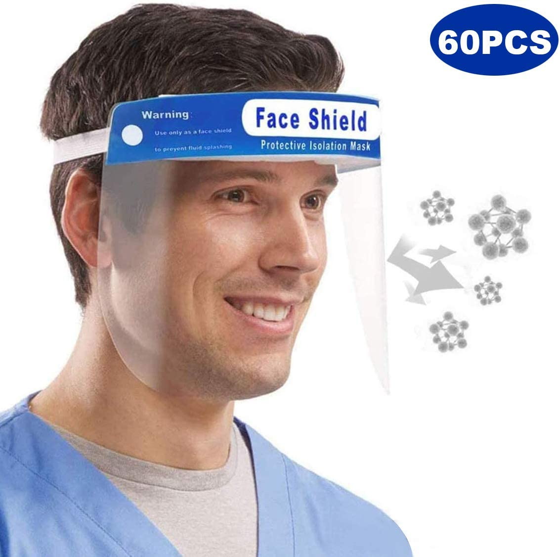 12PCS Safety Face Shield Reusable,Full Face Transparent Breathable Visor Dustproof Windproof Hat Shield Protect Eyes And Face With Protective Clear Film Elastic Band