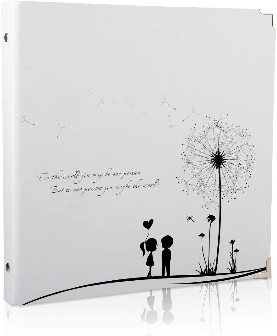 ThxMadam Scrapbook Álbum de Fotos Libro de Visitas de Boda con 50 Páginas Negras Presentes para Regalo de Valentín Día de Aniversario Navidad Cumpleaños para Esposa Hija Madre, Diente de león A
